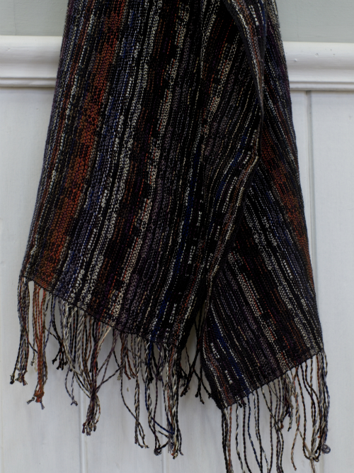 A movie Barcode scarf hand woven in silk