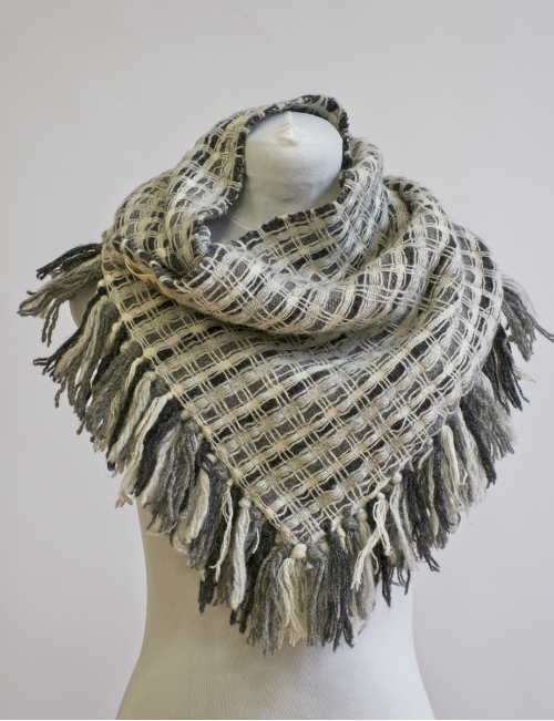 Downey doubleweave cowl in natural shades of Shetland lambswool on a mannequin